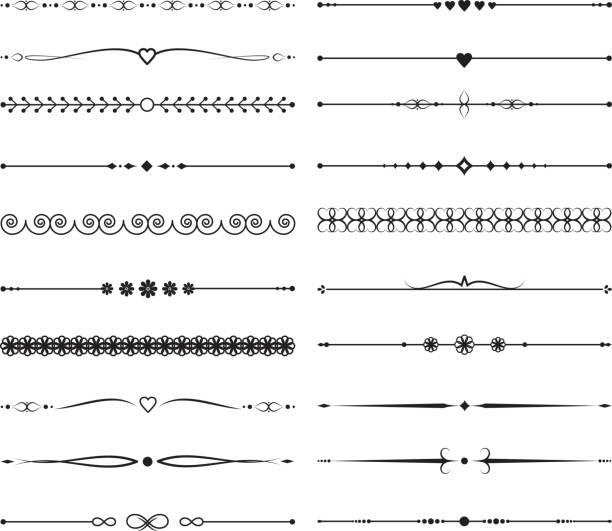 ilustrações de stock, clip art, desenhos animados e ícones de vintage calligraphic dividers. handmade wedding vector decoration - compasso