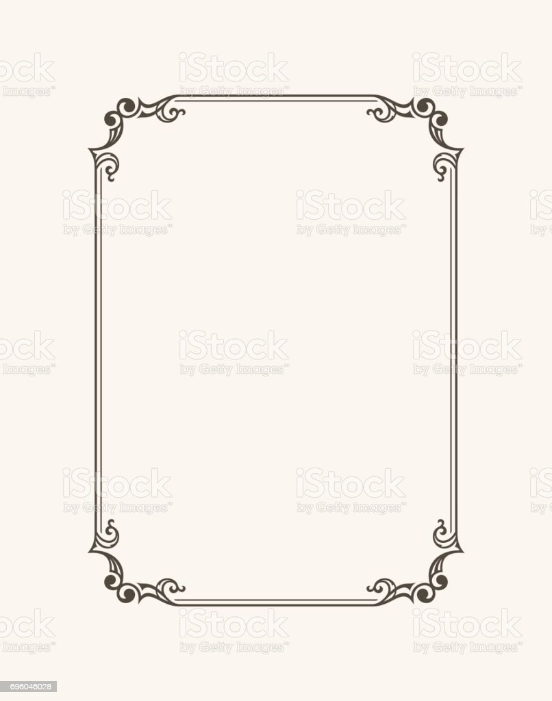 Vintage Calligraphic Frame Black And White Vector Border Of The ...