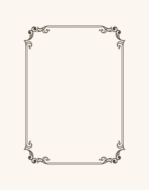 Vintage calligraphic frame. Black and white vector border of the invitation, diploma, certificate, postcard Vintage calligraphic frame. Black and white vector border of the invitation, diploma, certificate, postcard. Empty blank and place for text. book borders stock illustrations