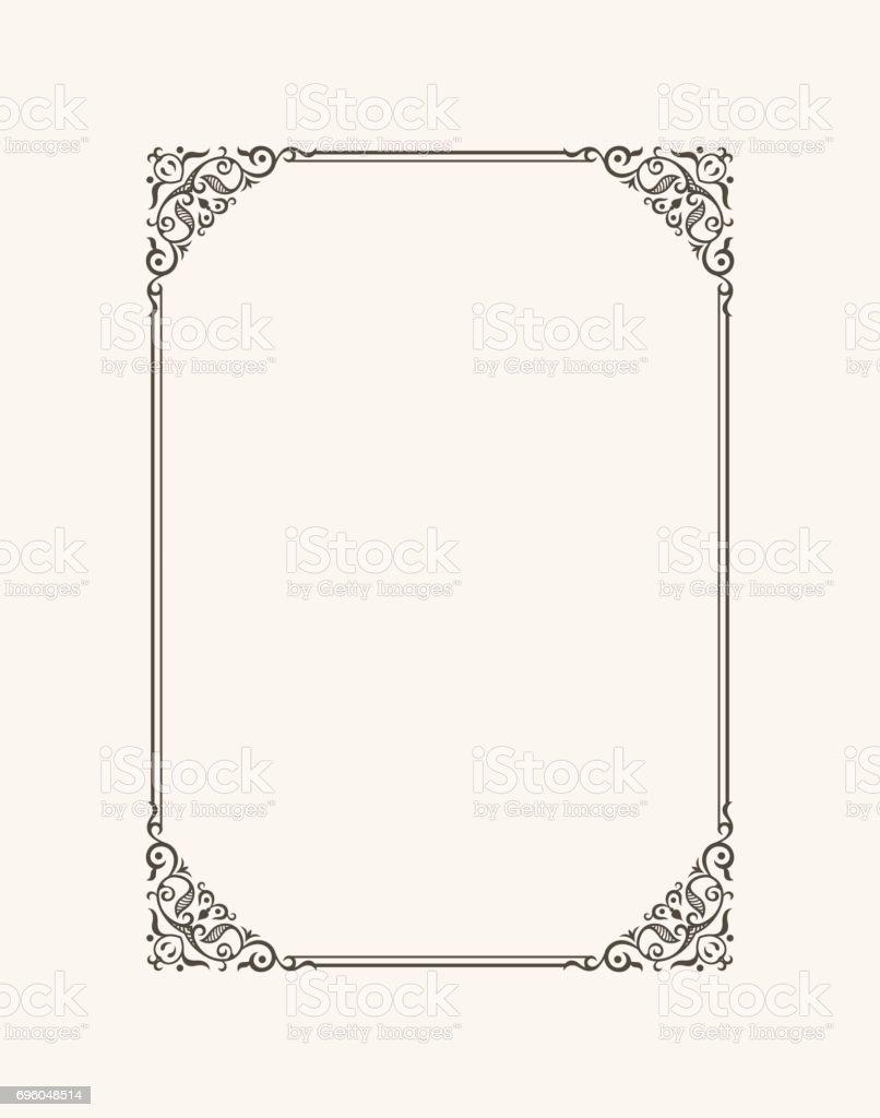 Vintage marco caligráfico. Frontera de vector blanco y negro de la invitación, diploma, certificado, tarjeta postal - ilustración de arte vectorial