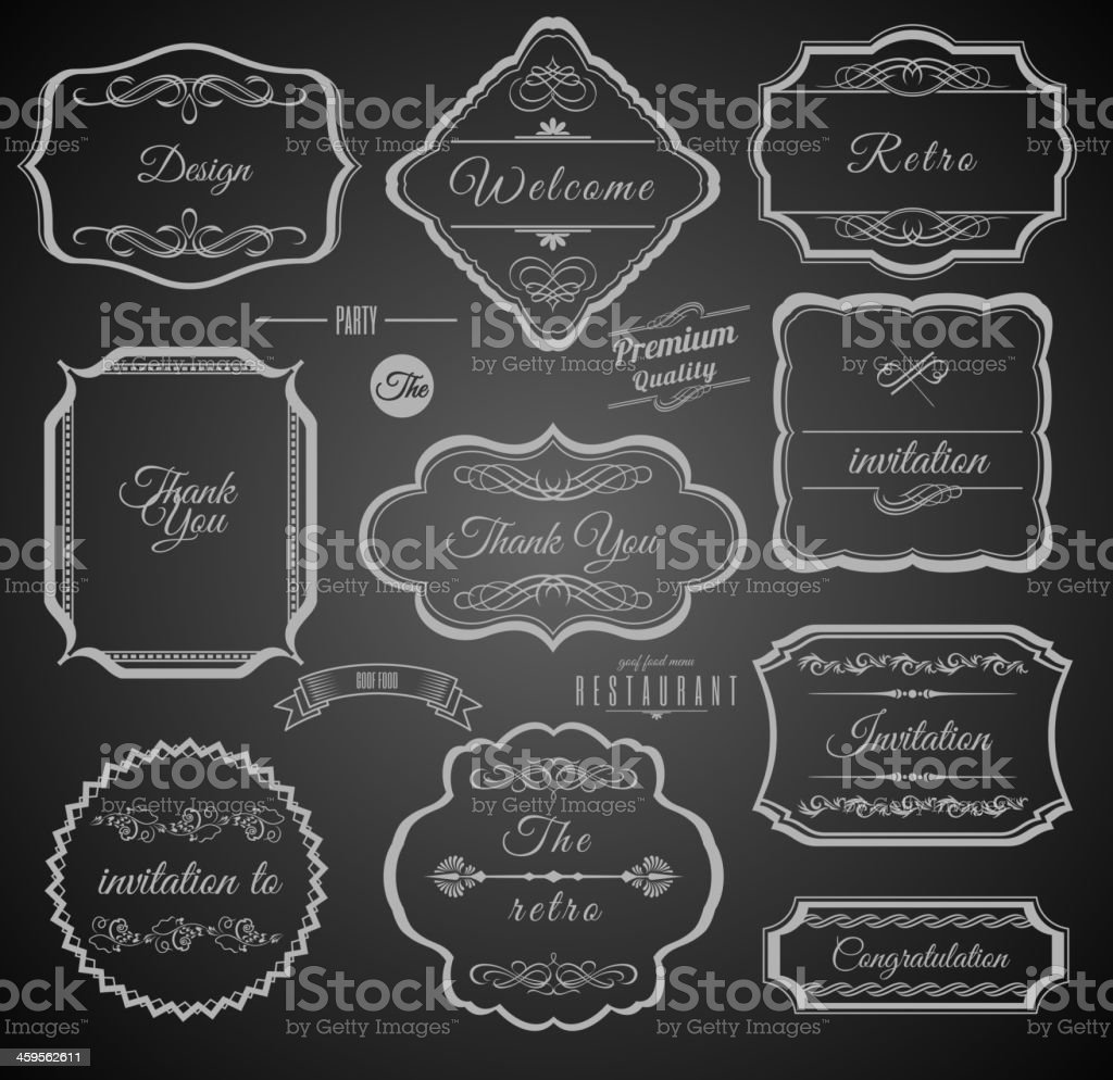 Vintage Calligraphic Frames with Design Elements royalty-free stock vector art