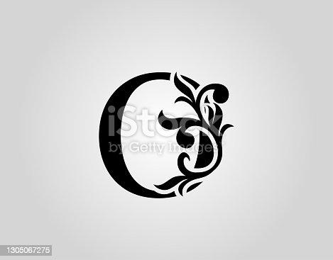 istock Vintage Calligraphic O Letter Icon Design. 1305067275