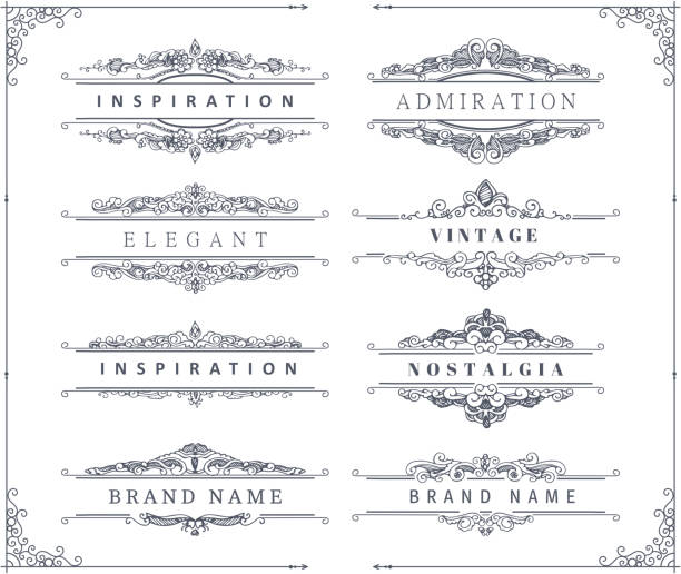 vintage calligraphic ornaments and frames - wedding fashion stock illustrations, clip art, cartoons, & icons