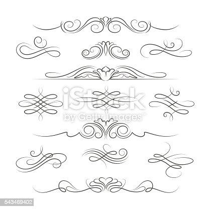 istock Vintage calligraphic ornate decoration elements 543469402