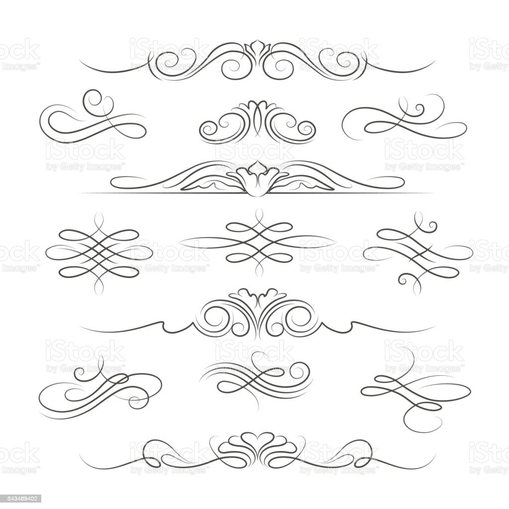 Vintage calligraphic ornate decoration elements vector art illustration