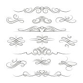 Vintage calligraphic ornate decoration elements
