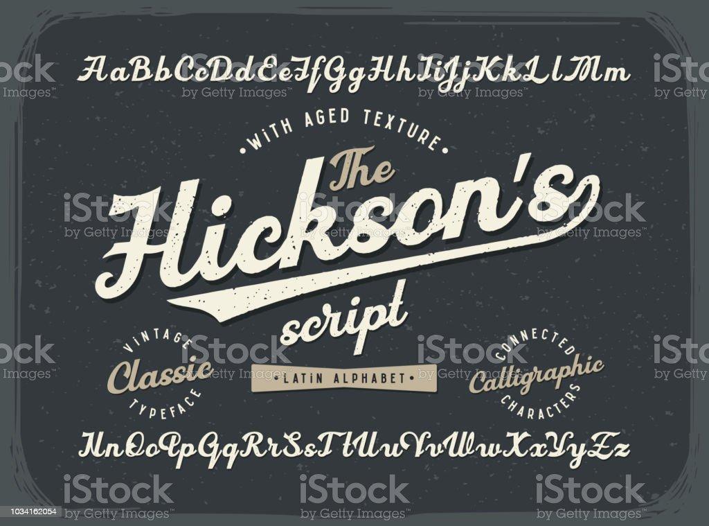 Polices de script calligraphique Vintage sertie de vieux style de texture polices de script calligraphique vintage sertie de vieux style de texture vecteurs libres de droits et plus d'images vectorielles de abstrait libre de droits