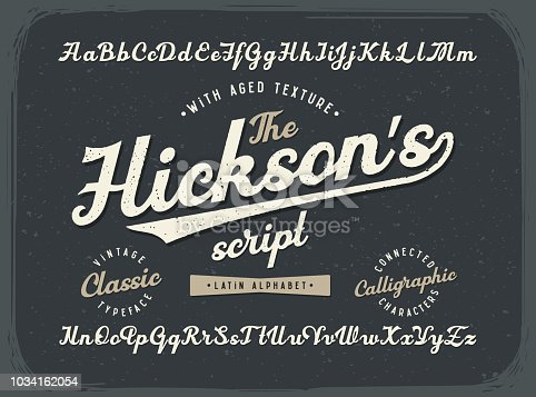 istock Vintage calligraphic script font set with old style aged texture 1034162054