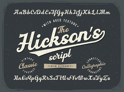 Vintage calligraphic script font set with old style aged texture