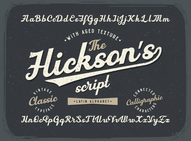 老式書法腳本字體集舊的風格老化紋理 - 復古風格 幅插畫檔、美工圖案、卡通及圖標