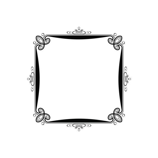 Vintage Calligraphic Square Frame Decorative Floral Border Element with Flourishes vector art illustration