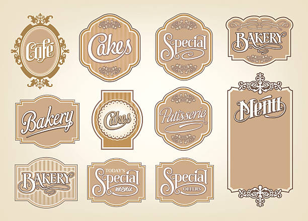 Vintage calligraphic vector sign and label design set vector art illustration