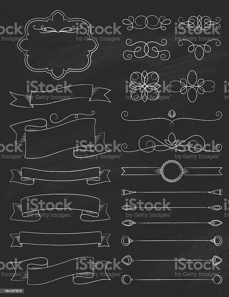 Vintage Calligraphy Chalkboard Design Elements Three vector art illustration