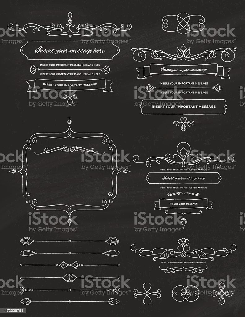 Vintage Calligraphy Chalkboard Design Elements Two royalty-free stock vector art