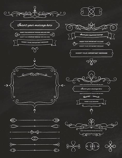 Vintage Calligraphy Chalkboard Design Elements Two vector art illustration