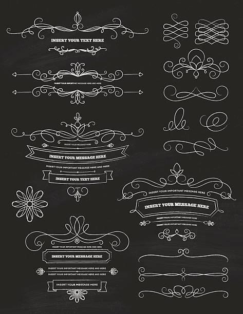 Vintage Calligraphy Chalkboard Design Elements vector art illustration