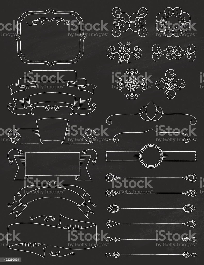 Vintage Calligraphy ChalkBoard Elements Five royalty-free vintage calligraphy chalkboard elements five stock vector art & more images of authority