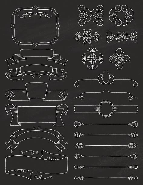 Vintage Calligraphy ChalkBoard Elements Five vector art illustration