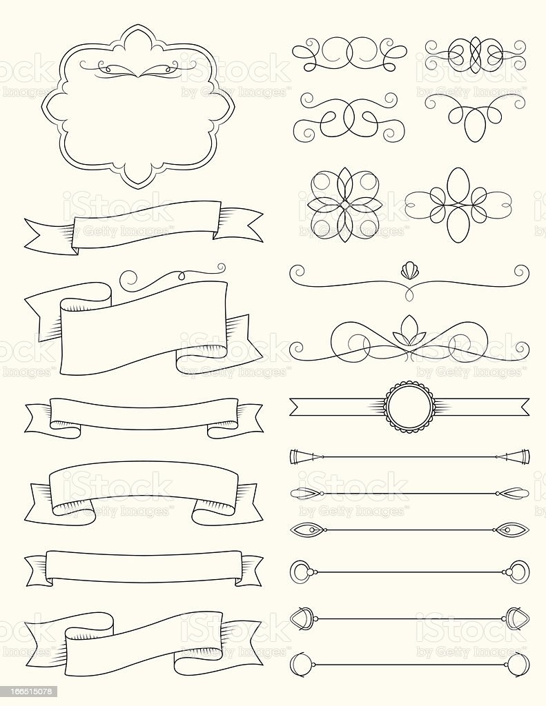Vintage Calligraphy Design Elements Three vector art illustration