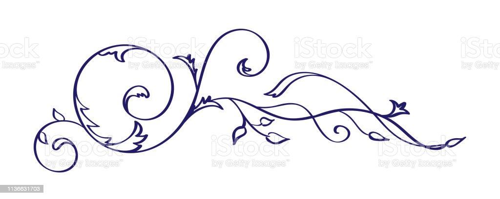 Vintage Calligraphy Flourish Vector Element Divider Or Corner Design