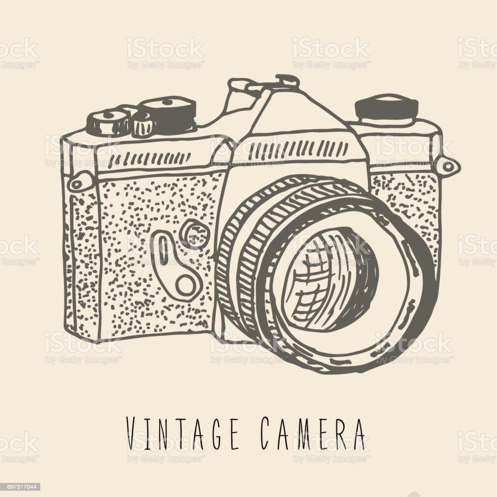 Vintage Camera Hand Drawn Logo For Print Tshits Poster Stock
