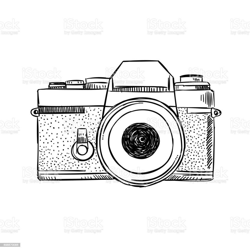 Illustration d'appareil photo vintage de croquis. Dessiné de main équipement de photographie dessin vectoriel contour - Illustration vectorielle