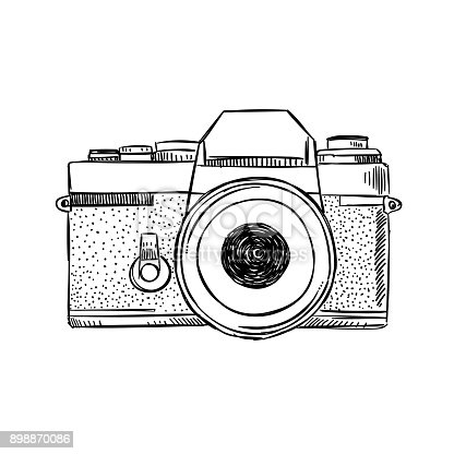 Vintage Camera Sketch Illustration Hand Drawn Vector Outline Drawing Photography Equipment Stock ...