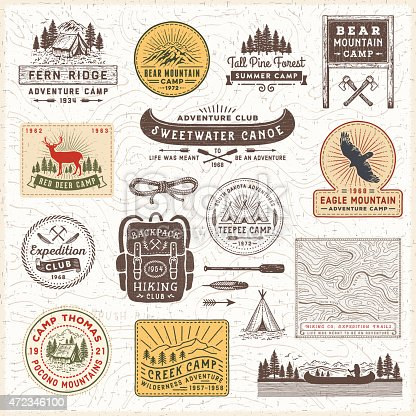 Vintage looking camping,hiking,adventure badges,labels and signs over topographic map.More works like this linked below.http://www.myimagelinks.com/Lightboxes/FRAMES,BANNERS_%26_LABELS_files/shapeimage_2.png