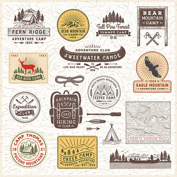 stockillustraties, clipart, cartoons en iconen met vintage camping badges and labels - buitenopname