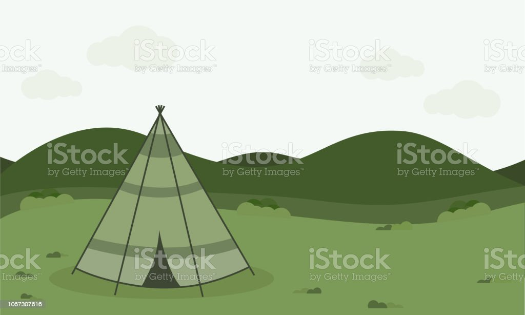vintage camping tent ,Retro Camping illustration with nature...