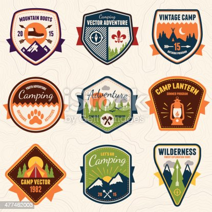 Set of vintage summer camp badges and outdoors emblems.