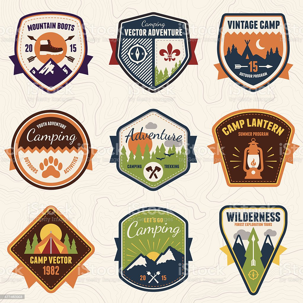 Vintage camping, wilderness and adventure badges vector art illustration