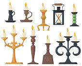 Vintage candles in candlesticks flat icon set. Cartoon elegant Victorian candelabras and retro holders for candles isolated vector illustration collection. Design elements and decoration concept