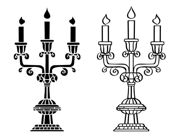 Vintage candlesticks, burning candles Vintage black candlesticks, burning candles isolated on a white background set candlestick holder stock illustrations