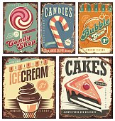 Vintage candy shop collection of tin signs. Retro posters layouts set with sweets, cakes, ice cream and bubble gum. Creative old fashioned rusty ads and banners.