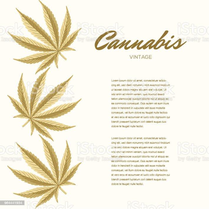 Folhas de cannabis vintage. Composição do vetor - espaço de cópia - Vetor de Baseado royalty-free