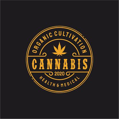 Vintage cannabis retro emblem badge, logo .  stock illustration Cannabis Plant, Cannabis Leaf, Marijuana - Herbal Cannabis, Logo
