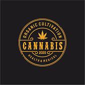 Vintage Retro Badge Emblem Cannabis Logo design inspiration