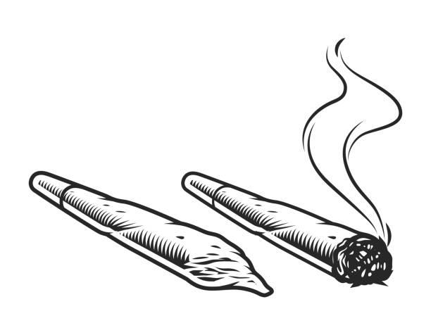 Vintage cannabis spliffs concept Vintage cannabis spliffs concept in monochrome style isolated vector illustration marijuana joint stock illustrations