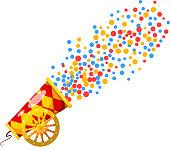 Vintage Cannon. Cartoon style. Stock vector illustration