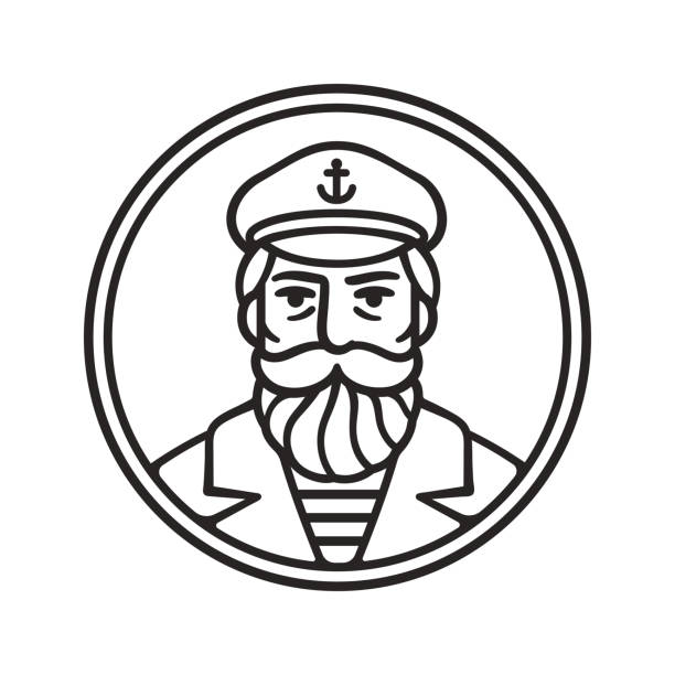 Vintage captain portrait Vintage style sea captain drawing. Sailor or fisherman portrait with beard, vector line art illustration. seyahat noktaları illustrationsları stock illustrations