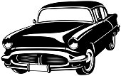 Illustration of black and white vintage car.