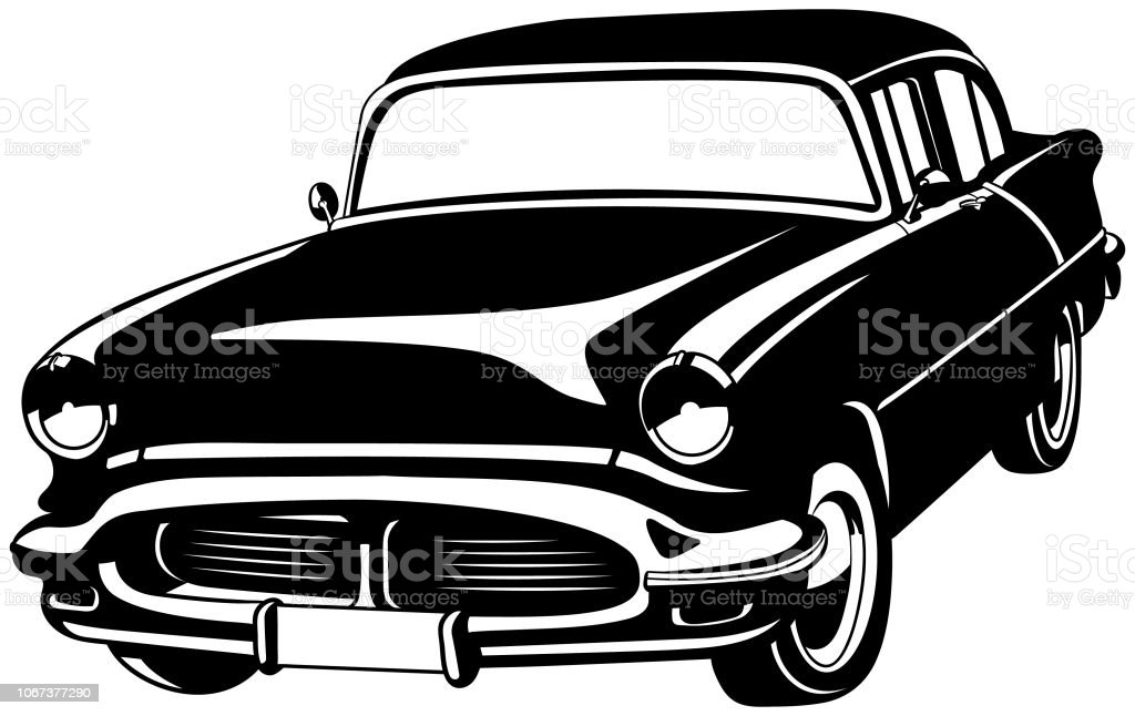 Vintage Car American Vector vector art illustration