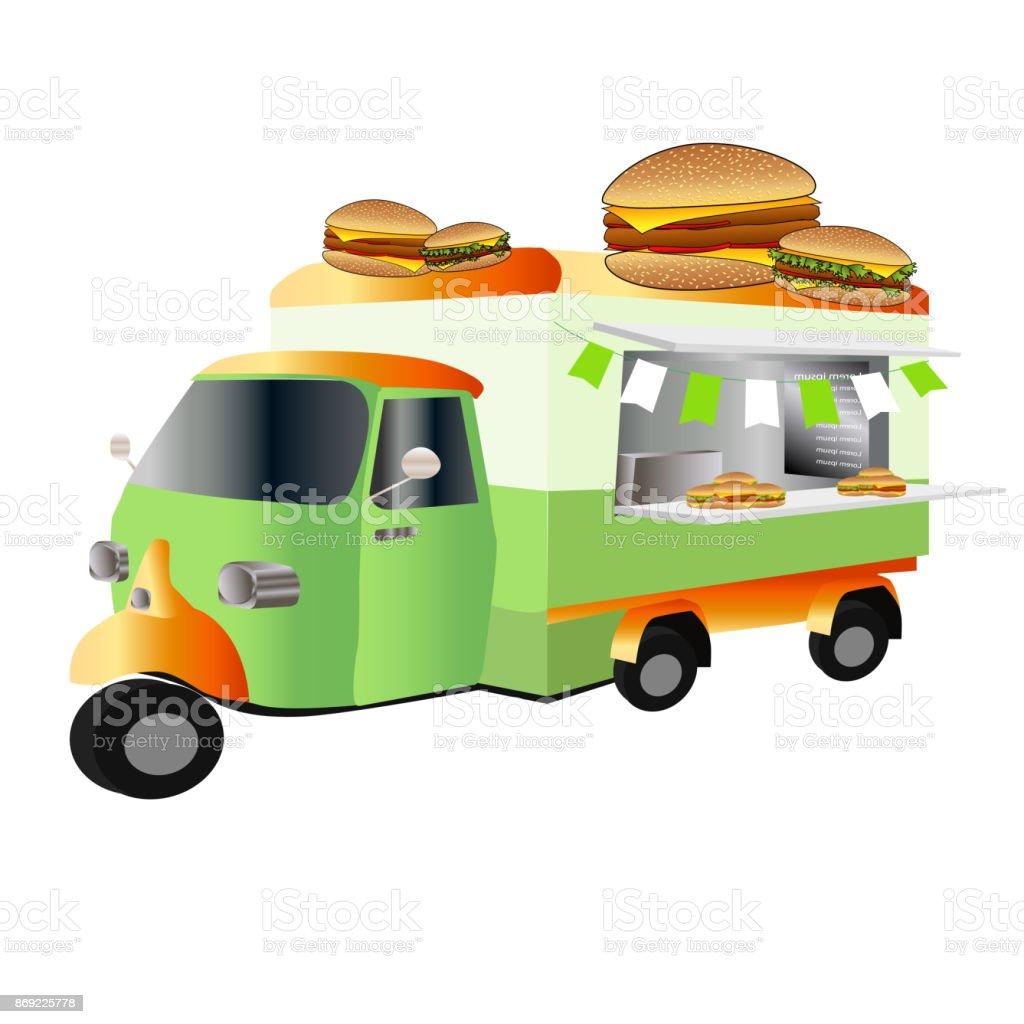 Vintage Car Fast Food Truck Hamburger Royalty Free