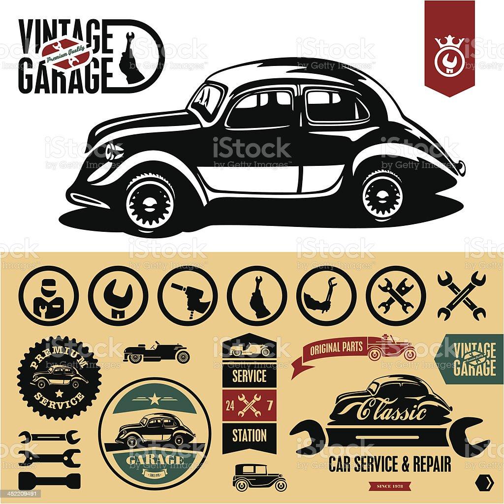 Vintage car garage labels vector art illustration
