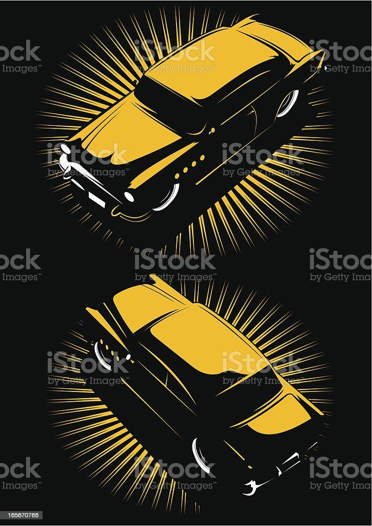 Vintage car in color two views vector art illustration