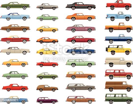 A variety of detailed vector drawings of an automotive lineup from the 1970s - 1980s.