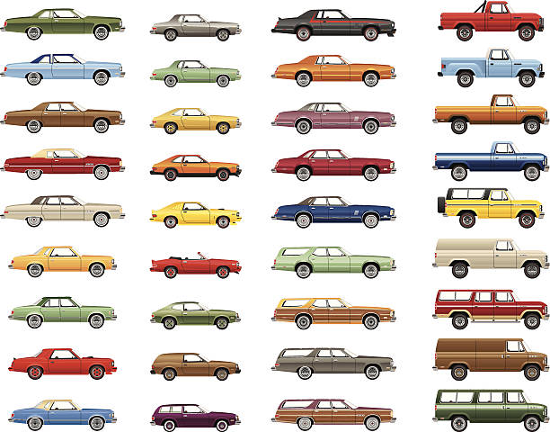 Vintage Car Lineup A variety of detailed vector drawings of an automotive lineup from the 1970s - 1980s. obsolete stock illustrations