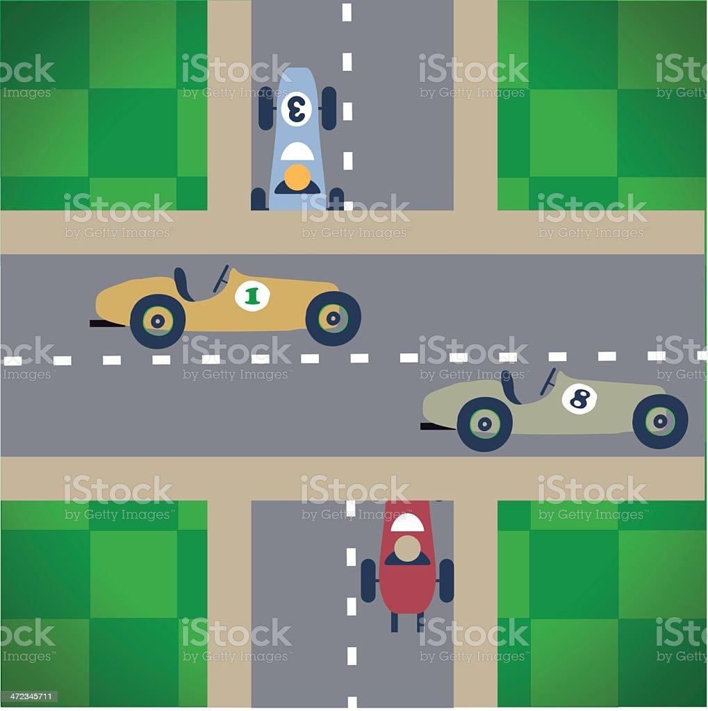 Vintage car race vector art illustration