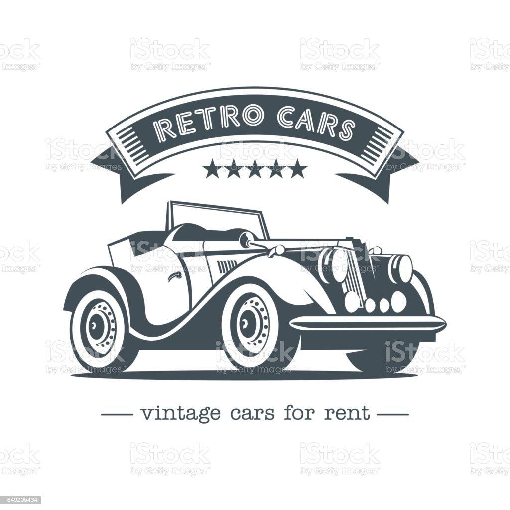 Vintage Car Retro Cars For Rent Monochrome Vector Icon Stock Vector ...